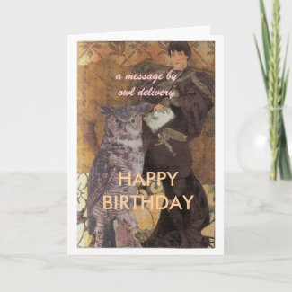 birthday card, a message by owl delivery, HAPP... zazzle_card
