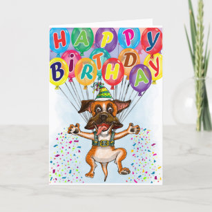 Birthday Card Boxer Dog Themed Personalizable