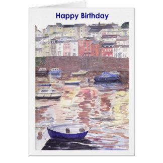 Birthday card, Brixham Harbour Devon UK Greeting Card