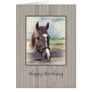 Birthday Card, Brown Horse with Bridle Card