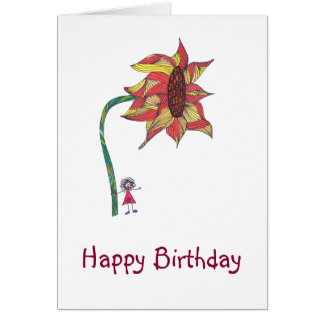 Birthday card character with large flower