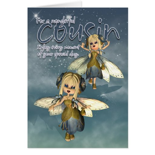 Birthday Card - Cousin - Moonies Cutie Pie Fairies