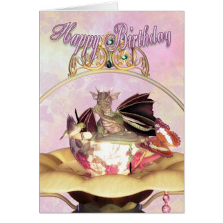Birthday Card - Dragon Sucking Thumb Humming Bird