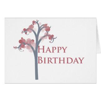 Birthday Card - Dusky Pink & Grey Tree