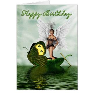 Birthday Card - Fantasy Swan Fairy On A Butterfly
