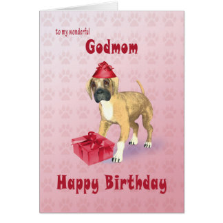 Birthday card for a Godmother with a puppy