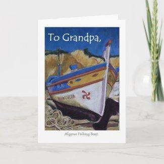 Birthday Card for a Grandpa - Algarve Fishing Boat card