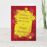 """Birthday card for a son-in-law<br><div class=""""desc"""">A sparkling bright birthday card with red and yellow stars. A lively card for the young at heart. A lovely birthday card for a son-in-law. See all ages and relationships in my store: http://www.zazzle.com/eggznbeenz</div>"""