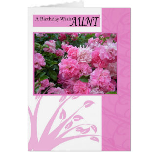 Birthday Card for Aunt, wild pink roses
