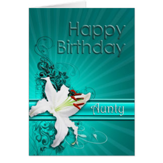 Birthday card for aunty, with a lily