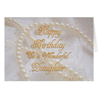 Birthday card for daughter with pearls