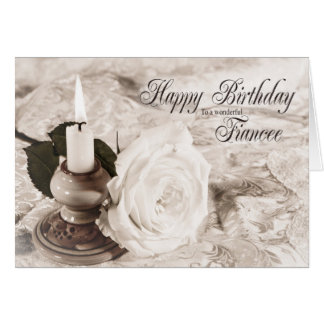 Birthday card for Fiancee, The candle and rose