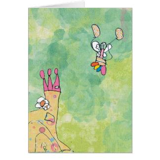 Birthday card for girl-flying over castle