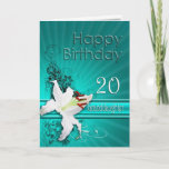 """Birthday card for granddaughter, 20, with a lily<br><div class=""""desc"""">A pure white lily on a background of delicate scroll work. A gorgeous card for any lady.</div>"""