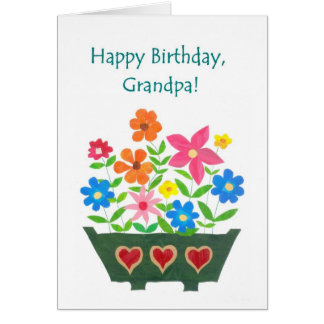 Birthday Card for Grandfather - Flower Power