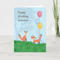 Birthday Card for Grandson with Foxes