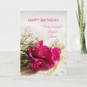 Birthday Card For Great Aunt With Pink Roses