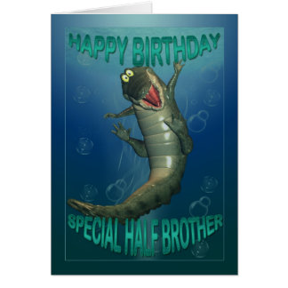 Birthday card for half brother, snappy crock