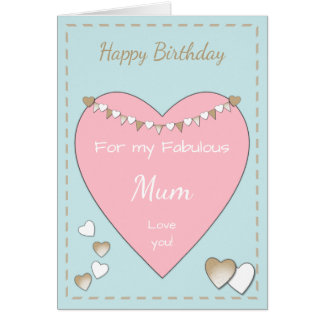 Birthday Card for Mom Card Shabby Chic pink