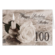 Birthday card for mother, 100. The candle and rose