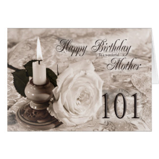 Birthday card for mother, 101. The candle and rose