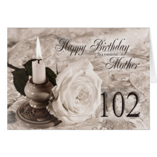 Birthday card for mother, 102. Candle and rose
