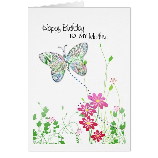 birthday card for mother with butterfly