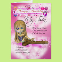 Birthday card for My Twin, Moonies Cutie Pie colle
