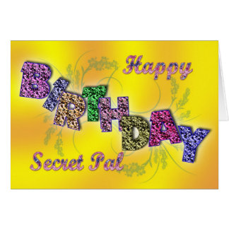 Birthday card for secret pal with floral text