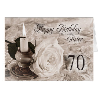 Birthday card for sister,70.  The candle and rose