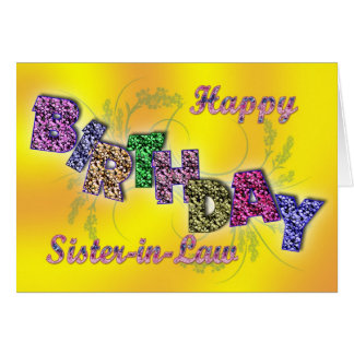 Birthday card for sister-in-law with floral text