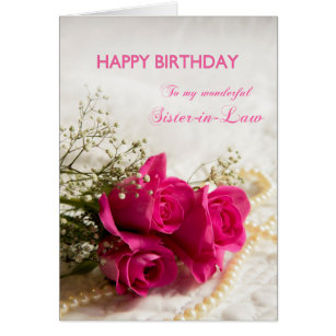 Rose birthday for sister law cards greeting photo cards zazzle birthday card for sister in law with pink roses bookmarktalkfo Image collections
