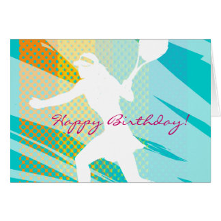 Birthday card for tennis with tennisplayer design