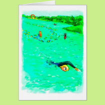 Birthday Card for Triathlete - Swimming Off Course