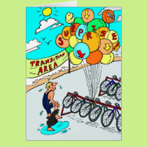 Birthday Card for Triathlete - Triathlon Balloons