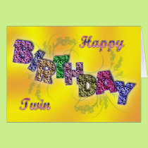 Birthday card for twin with floral text