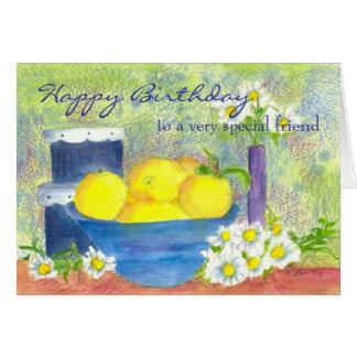 Birthday Card Friend Lemon Daisy Watercolor