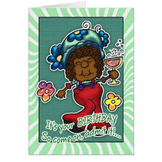 Birthday Card - Fun Lady With A Glass Of Wine - Re
