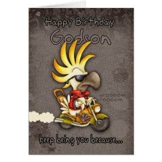 Birthday Card - Godson Birthday Card - Cockatoo Bi
