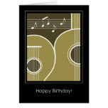 Birthday Card Graphic Guitar and Music Notes