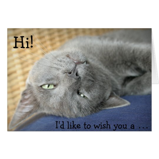 Happy Birthday Cat Wishes: Birthday Card: Grey Cat Wishes A Happy Birthday! Card