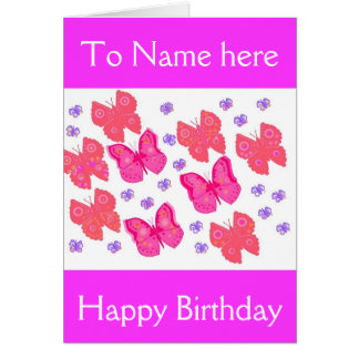 Birthday card, her, add name front,message inside. card