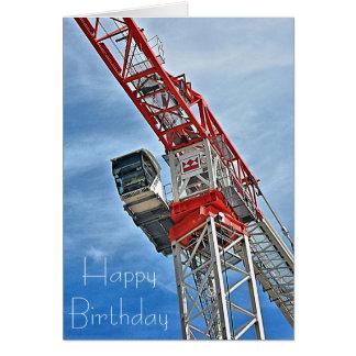 Birthday Card Men at Work Crane Driver
