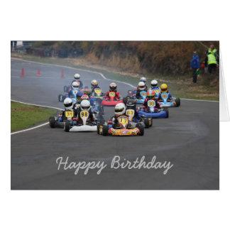 Birthday card of go karting kart race