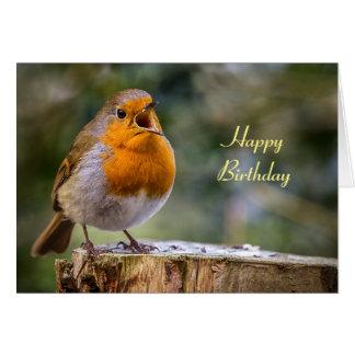 Birthday card of singing robin Erithacus rubecula