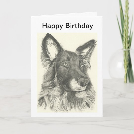 Birthday Card Pencil Drawing Of A German Shepherd Zazzle