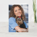 "Birthday Card Photo Custom<br><div class=""desc"">Happy Birthday Card Photo Custom is a card that you can recreate for yourself. Leave or Replace the Photograph with yours on the cover and replace the words on the cover and inside with yours. Enjoy</div>"