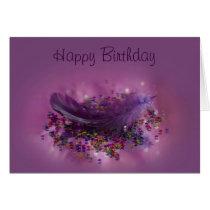 Birthday Card - Purple Fairys Feather