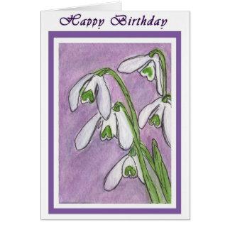 Birthday Card snowdrops art  watercolour card