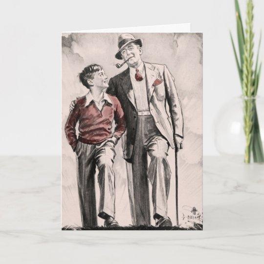 Birthday Card Son Father Retro Vintage 1930s Boy
